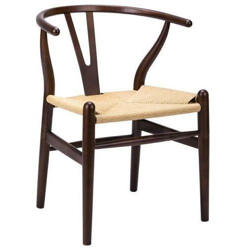 Sofa.pl Krzesło wishbone ciemny brąz - drewno bukowe, naturalne włókno