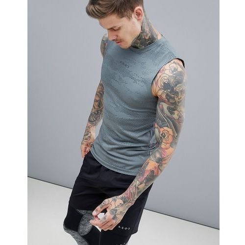 ASOS 4505 Sleeveless T-Shirt With Camo Jacquard Seamless Knit - Grey, kolor szary