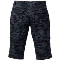 Bonprix Spodnie bojówki 3/4 straight fit czarny moro