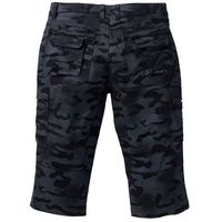 Spodnie bojówki 3/4 straight fit czarny moro marki Bonprix