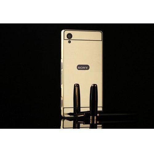 Obudowa Bumper Metal Mirror Case Sony Xperia M4 Aqua - Złota - Złoty