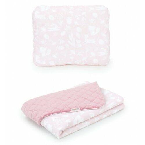 Mamo-tato Komplet kocyk dla dzieci velvet pikowany 75x100 + poduszka - las pastelowy róż - różany