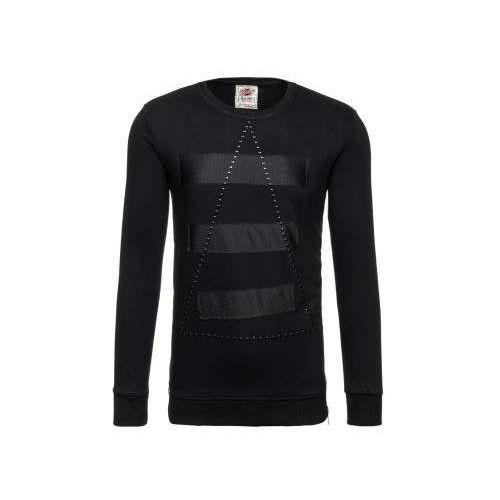 Bluza męska bez kaptura z nadrukiem czarna denley 9102, Breezy