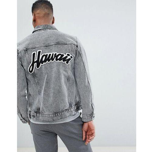 + denim jacket with back hawaii flocking - black marki Selected homme