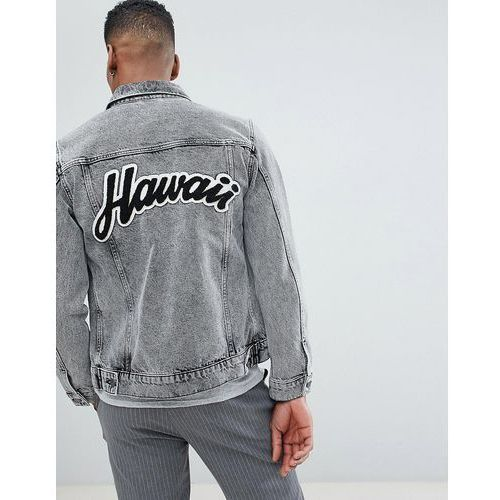 Selected homme + denim jacket with back hawaii flocking - black