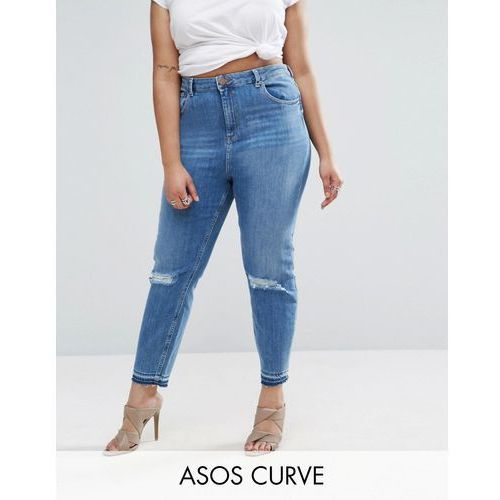 ASOS CURVE Farleigh Slim Mom Jeans in Hawthorn Busted Knees with Let Down Hem - Blue