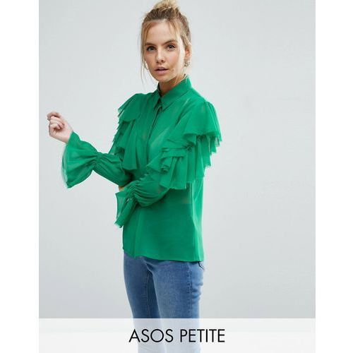 deconstructed ruffle cold shoulder blouse with tie detail - green marki Asos petite