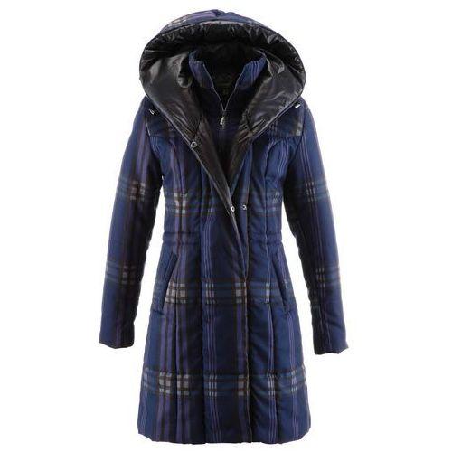 Płaszcz pikowany bonprix ciemnoniebieski w kratę, kolor niebieski