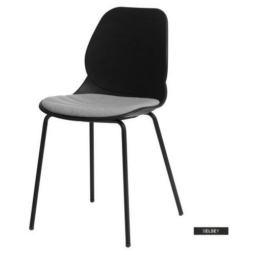 SELSEY Krzesło Layer z tapicerowanym siedziskiem czarne (5903025296654)