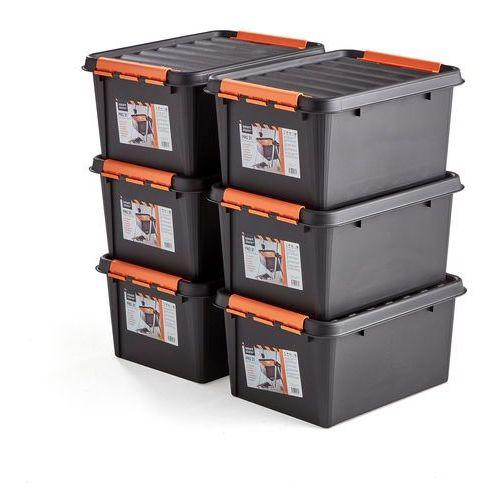 Aj produkty Pojemniki z tworzywa sztucznego nolan z pokrywą, 32 l, 6 szt., 500x390x260 mm, czarny