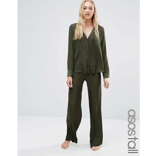 newton satin jacquard spot shirt & wide leg pyjama set - green wyprodukowany przez Asos tall