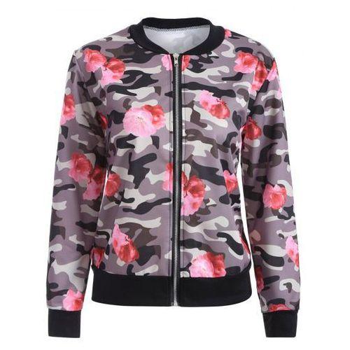 Camo Floral Print Bomber Jacket, bomberka