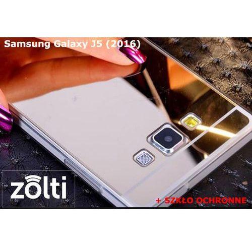 Zestaw   Slim Mirror Case Srebrny + Szkło ochronne Perfect Glass   Etui dla Samsung Galaxy J5 2016 (J510; J520) 5,20, kolor szary