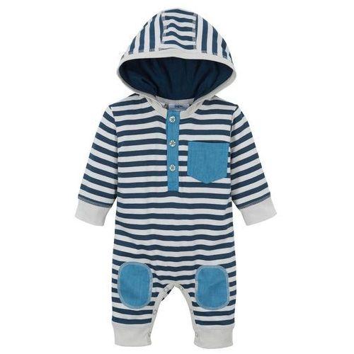 Pajacyk niemowlęcy, bawełna organiczna ciemnoniebiesko-srebrny w paski marki Bonprix