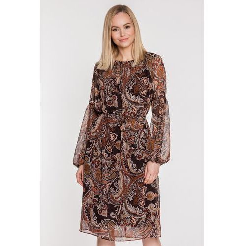 Szyfonowa sukienka we wzory - SU, kolor brązowy