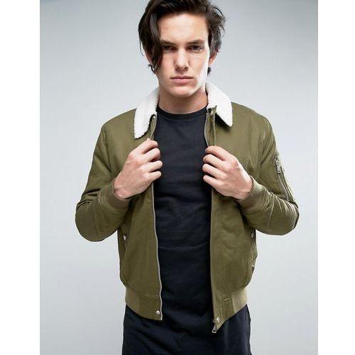 New look  harrington jacket with borg collar in khaki - green