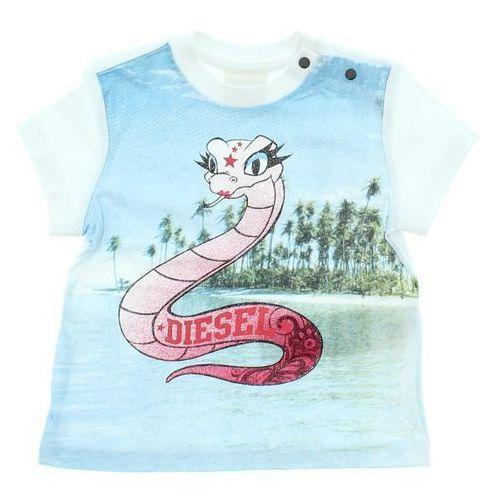 t-shirt dziecięcy niebieski biały 6 miesięcy marki Diesel
