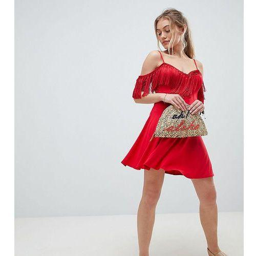 ASOS DESIGN Petite mini sundress with cold shoulder and tassel detail - Red, kolor czerwony