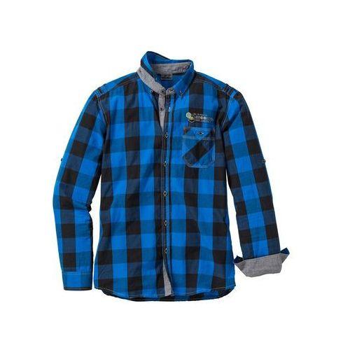 Koszula z długim rękawem slim fit lazurowy w kratę marki Bonprix
