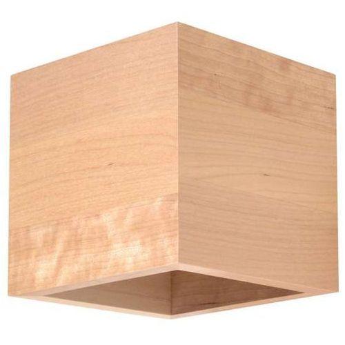 Kinkiet LAMPA ścienna WOOD SM491 MDECO drewniana OPRAWA w stylu skandynawskim kostka, SM491