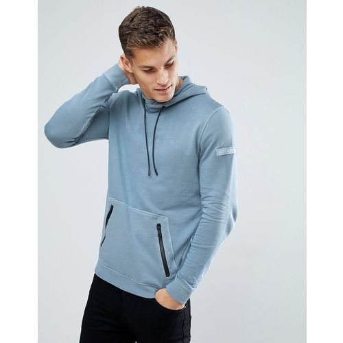 Tom tailor hoodie in washed blue with contrast trims - blue