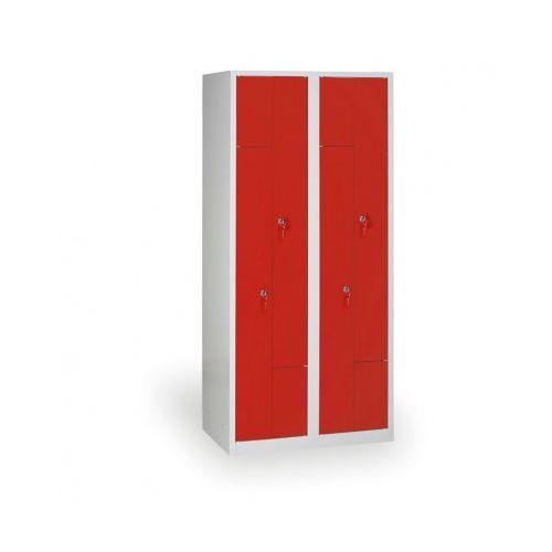 B2b partner Spawana szafka ubraniowa z, korpus szary, drzwi czerwone zamek obrotowy