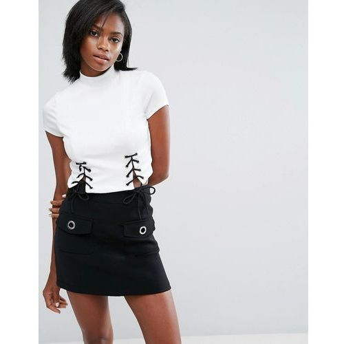 River island  corset detail crop top with high neck - white