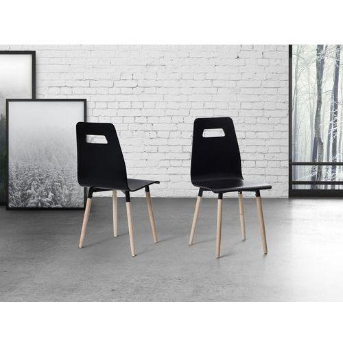 Krzesło czarne - do jadalni - do kuchni - drewniane - BOVIO, kolor czarny