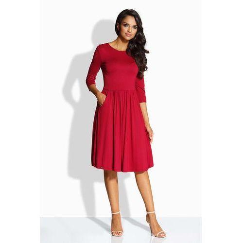 Bordowa Sukienka Klasyczna z Szerokim Dołem z Kieszeniami, kolor czerwony