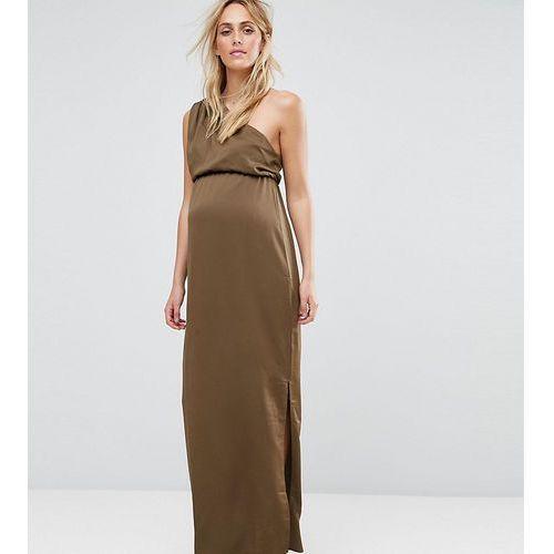 one shoulder drape maxi dress - green marki Asos maternity