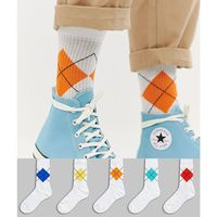 Asos design sports style socks with argyle placement design 5 pack - white