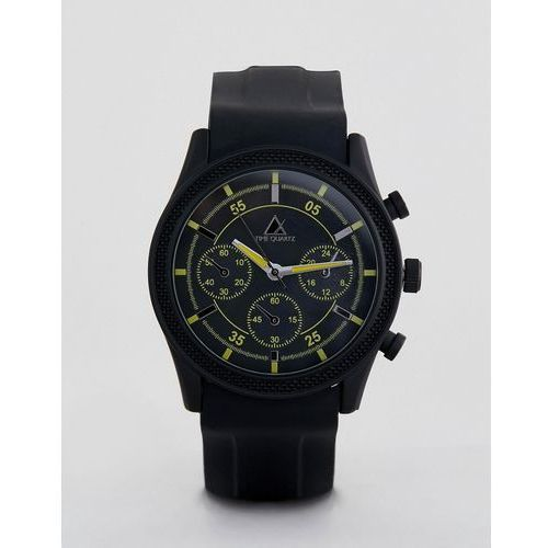 ASOS DESIGN Oversized Rubberised Watch In Black With Yellow Highlights - Black