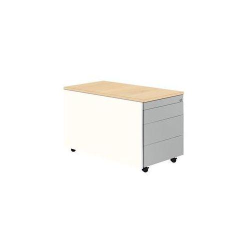 Kontener szufladowy na rolkach,wys. x głęb. 529 x 800 mm, płyta z tworzywa, 3 szuflady