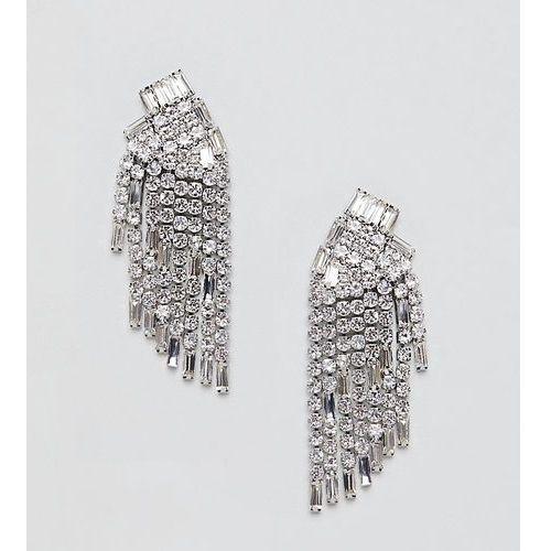 True Decadence silver diamante chandelier earrings - Silver, kolor szary