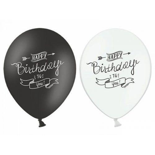 """Balony 14"""" Strong urodzinowe Happy Birthday, białe i czarne, 6 szt., BGNP/8397-9"""