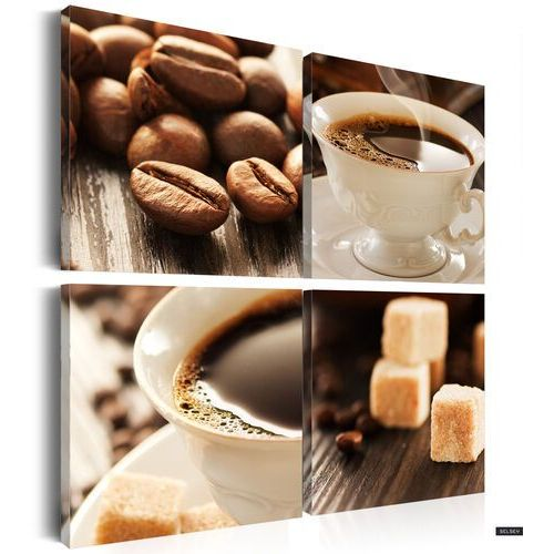 SELSEY Cup Of Coffee 4 Piece Canvas Print 80x80 cm (5902622536927)