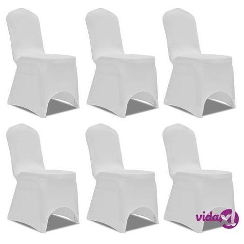 białe elastyczne pokrowce na krzesła, 6 szt. marki Vidaxl