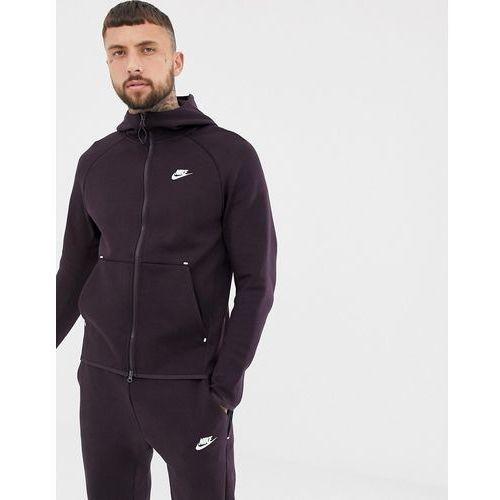 Nike Tech Fleece Zip Through Hoodie In Dark Purple 928483-659 - Red