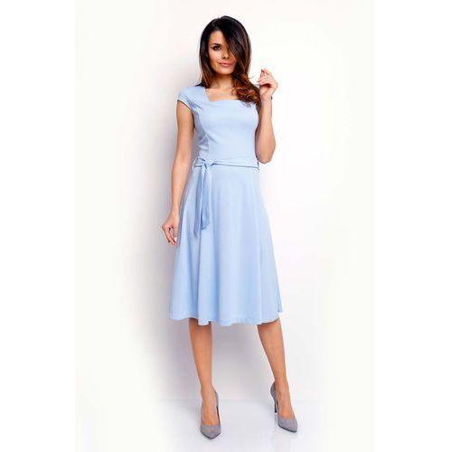 Niebieska Wyjściowa Rozkloszowana Sukienka z Dekoltem Karo, NA401be