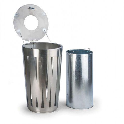 B2b partner Zewnętrzny kosz na śmieci, 58 l, ze stali nierdzewnej