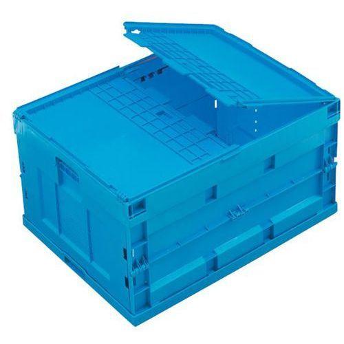 Pojemnik składany z polipropylenu, poj. 200 l, z pokrywą na zawiasach, niebieski marki Walther faltsysteme