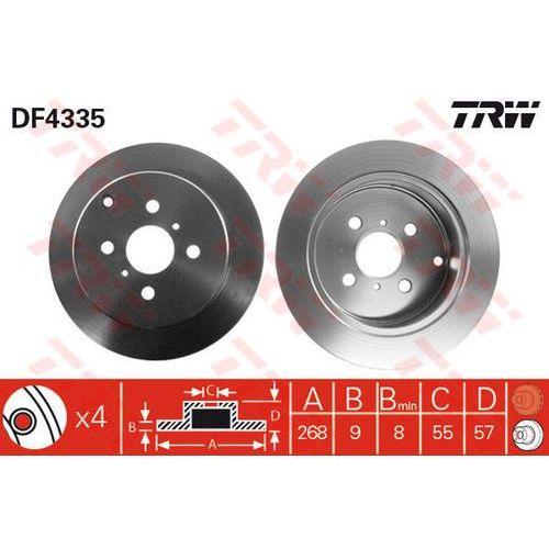Trw Tarcza ham  df4335 toyota corolla 1.4vvt-i, 1.6vvt-i, 1.8vvtl-i ts 02-, yaris 1.0 16v 03-, 1.4 d-4d 01-