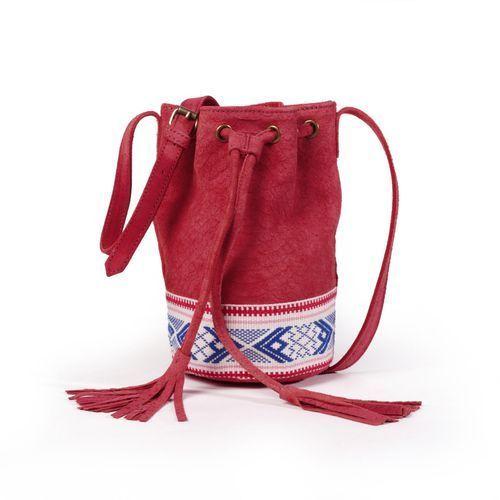 Skórzana torebka worek z azteckimi detalami