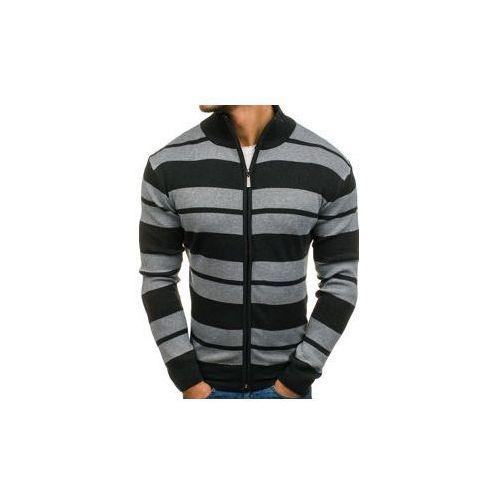 Sweter męski rozpinany antracytowo-szary Denley BM6065, rozpinany