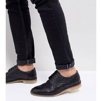 ASOS Wide Fit Casual Brogue Shoes In Black Leather With Natural Sole - Black, kolor czarny