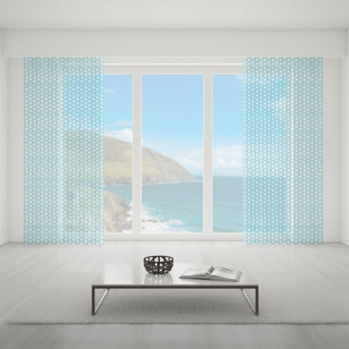 Firana na wymiar do pokoju - WHITE DOTS & BLUE BACKGROUND