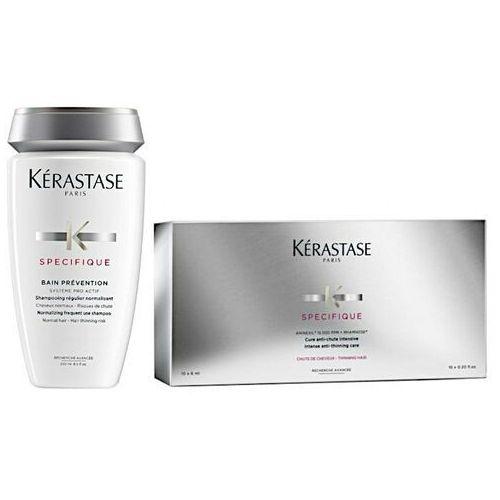 Kerastase specifique | zestaw przeciw wypadaniu włosów normalnych: kuracja anti-thinning 10 x 6 ml + kąpiel prevention 250 ml