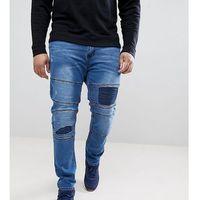 Duke PLUS Biker Jeans In Tapered Fit With Rips And Repairs - Blue, kolor niebieski