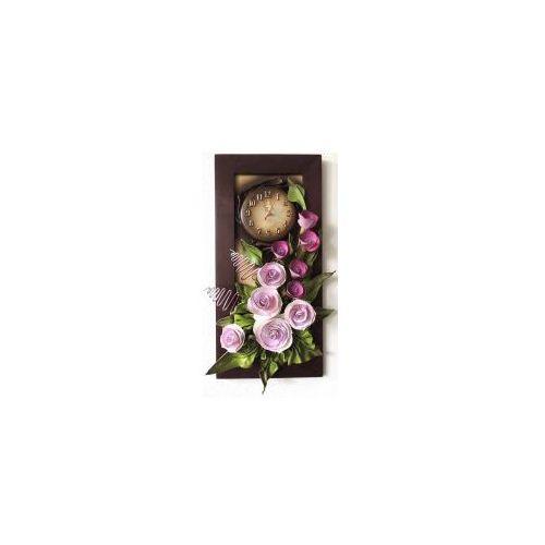 Obraz z zegarem 3d - fioletowe kwiaty - k4z-10 marki Art deco