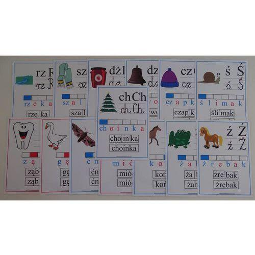 Bystra sowa Alfabet słowno-obrazkowy dwuznaki i znaki diakrytyczne z kierunkiem pisania